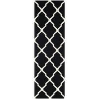 "Safavieh Hand-woven Moroccan Reversible Dhurrie Black Wool Rug - 2'6"" x 6'"