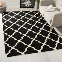 Safavieh Hand-woven Moroccan Reversible Dhurrie Geometric Black Wool Rug (3' x 5') - 3' x 5'