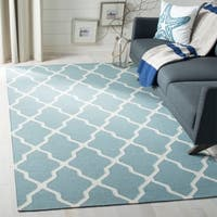 Safavieh Hand-woven Moroccan Reversible Dhurrie Light Blue Wool Rug - 3' x 5'