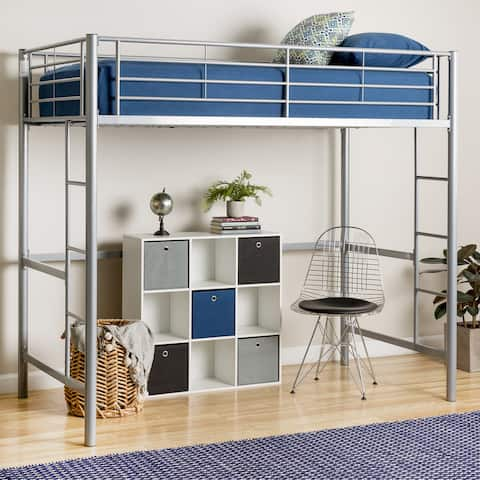 Taylor & Olive Abner Silver Metal Deluxe Twin Loft Bed
