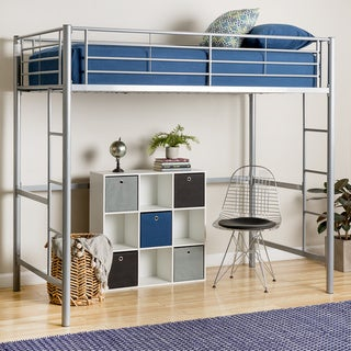 Silver Metal Deluxe Twin Loft Bed