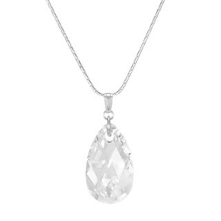 Handmade Jewelry by Dawn Large Clear Crystal Pear Sterling Silver Necklace (USA)