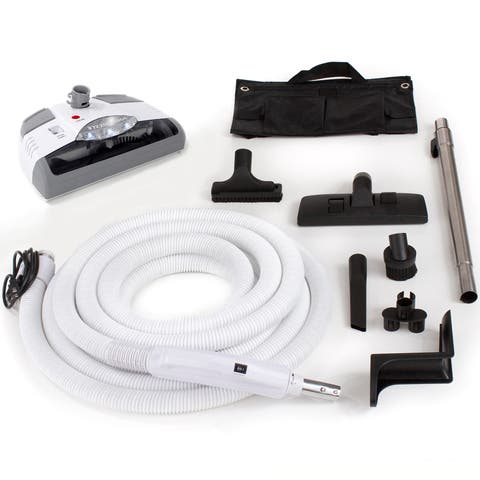 Central Vacuum 35-foot Hose and Tool Kit - White