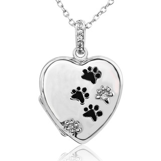 ASPCA Tender Voices Silver Diamond Accent Paw Print Heart Locket