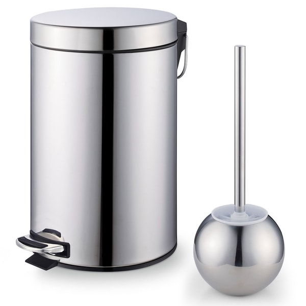 Cook N Home Stainless Steel Step Trash Can/Bin and Toilet Brush with Holder Set, 7 Liter, Round