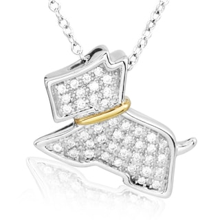 ASPCA Tender Voices Sterling Silver with 10k Yellow Gold 0.26CTtw Diamond Terrier Necklace (I-J, I2-I3)