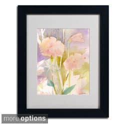 Sheila Golden 'Pink Dragonfly Shadows' Framed Matted Art