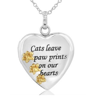 ASPCA Tender Voices Sterling Silver with 10k Yellow Gold Plate Diamond Accent Paw Heart Necklace (I-J, I2-I3)