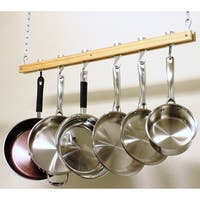 Cooks Standard Single-bar Wooden 36-inch Ceiling Mount Pot Rack