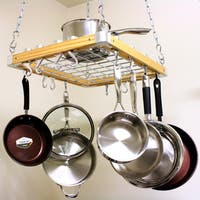 Cooks Standard Ceiling Mounted Wooden Pot Rack, 24 by 18-Inch