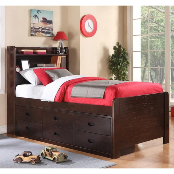 pine cappuccino twin captains bed