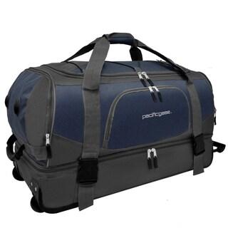 Pacific Gear 30-inch Drop Bottom Navy/ Grey Rolling Upright Duffel Bag