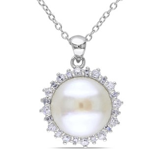 Miadora Sterling Silver Pearl and White Topaz Necklace (11-12 mm)