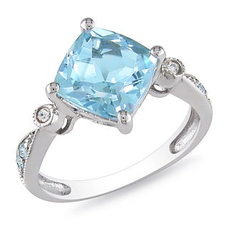 M by Miadora Sterling Silver 2 1/2ct Sky Blue Topaz and Diamond Ring