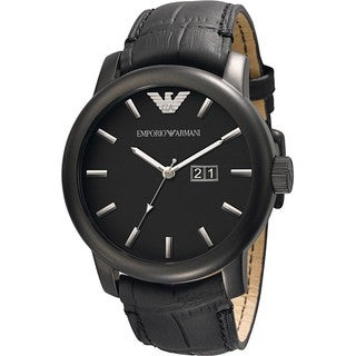 Armani Men's AR0496 Classic Stainless Steel Black Dial Watch