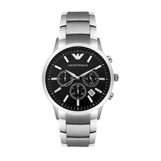Armani Men's AR2434 Classic Stainless Steel Black Dial Watch