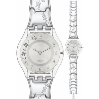 swatch watches overstock com the best prices on designer mens swatch women s skin sfk300g silver stainless steel quartz watch silver dial