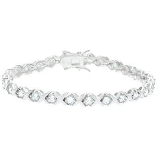 Sunstone Silver Overlay Cubic Zirconia Criss-cross 7-inch Tennis Bracelet