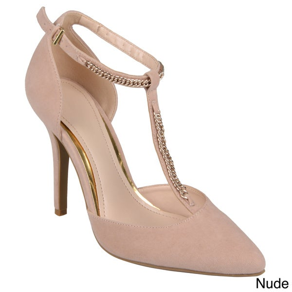 Journee Collection Women's 'Momentum' Sueded T-strap Pumps