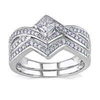 Miadora Signature Collection 14k White Gold 5/8ct TDW Diamond Bridal Ring Set