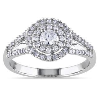 Miadora 14k White Gold 1/2ct TDW Halo Diamond Ring (G-H, I1-I2)