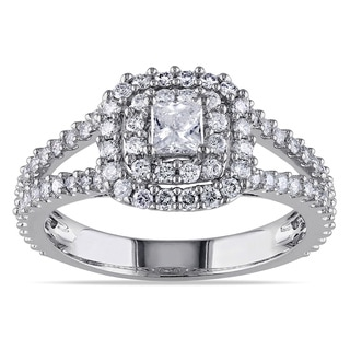 Miadora Signature Collection 14k White Gold 1ct TDW Halo Diamond Ring