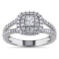 Miadora Signature Collection 14k White Gold 1ct TDW Halo Diamond Ring