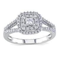 Miadora 14k White Gold 1/2ct TDW Princess-cut and Round Diamond Split Shank Halo Engagement Ring