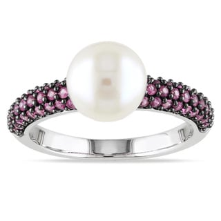 Miadora 10k White Gold Cultured Freshwater Pearl and Pink Sapphire Ring