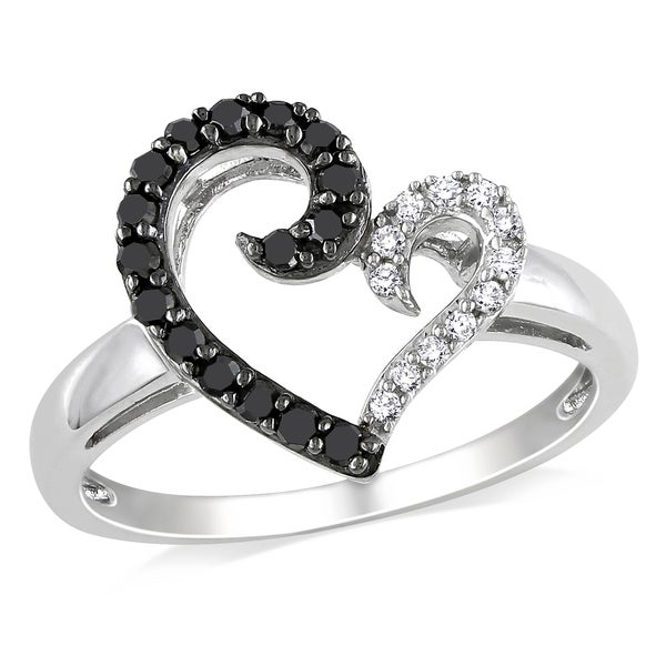 M by Miadora Sterling Silver 1/4ct TDW Black and White Open Heart Diamond Ring