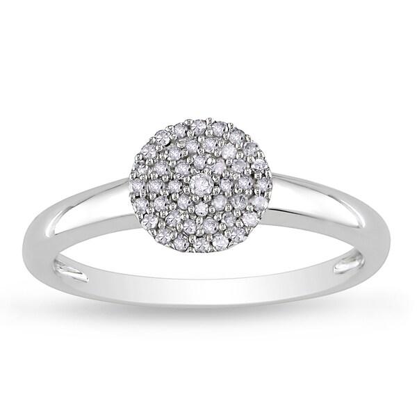 Miadora 10k White Gold 1/8ct TDW Diamond Ring