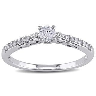 Miadora 10k White Gold 1/4ct TDW Round Diamond Heart Profile Ring