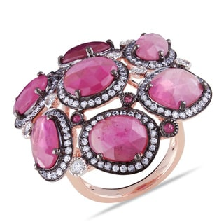 Miadora Signature Collection 14k Rose Gold 12ct TGW Pink Sapphire 1/8ct TDW Diamond Ring