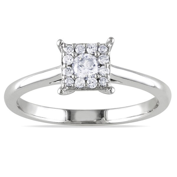 Miadora 10k White Gold 1/4ct TDW Multi Stone Princess Shape Diamond Ring