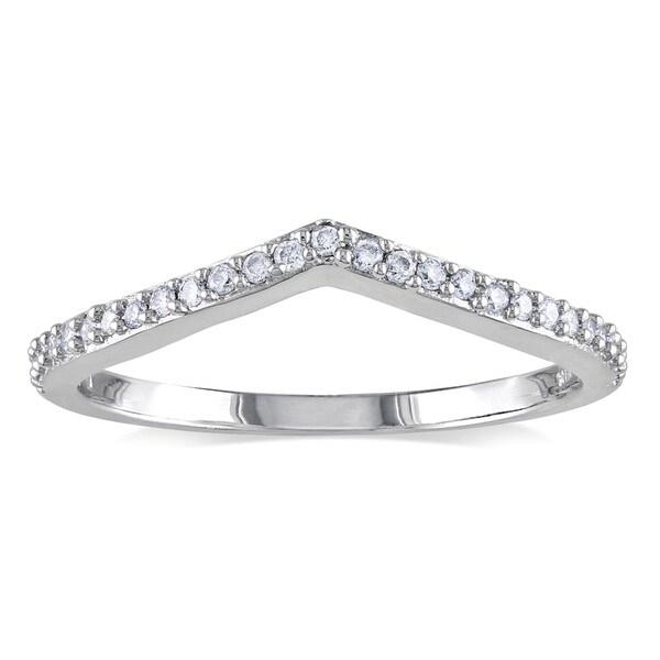Miadora 14k White Gold 1/6ct TDW Curved Diamond Wedding Ring
