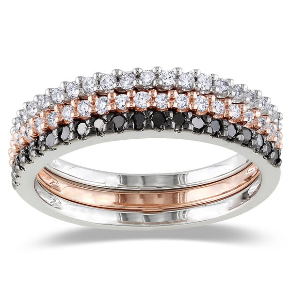 Miadora Silver 5/8ct TDW Black and White Diamond 3-Piece Stackable Ring Set