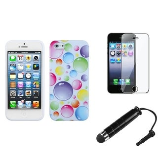 INSTEN Clear Screen Protector/ Stylus/ Candy Skin Phone Case for Apple iPhone 5/ 5C/ 5S/ SE
