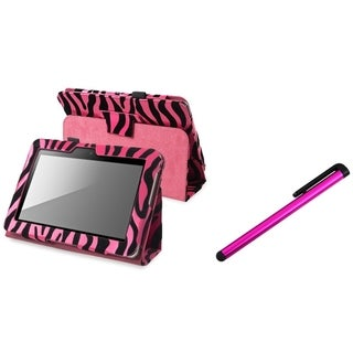 INSTEN Zebra Leather Phone Case Cover/ Stylus for Amazon Kindle Fire HD 7-inch