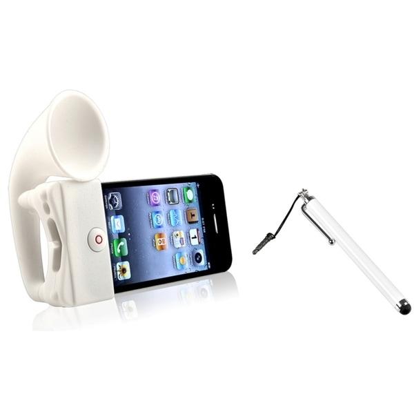 INSTEN White Speaker Phone Case Cover/ White Stylus for Apple iPhone 4/ 4S