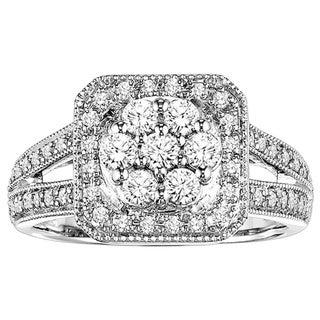 Cambridge Sterling Silver 3/4 TDW Cushion Shape Diamond Ring