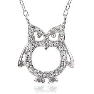 Journee Collection Sterling Silver Cubic Zirconia Owl Necklace