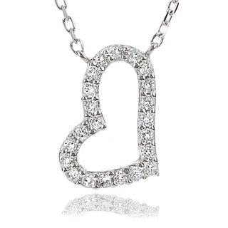 Journee Collection Sterling Silver Cubic Zirconia Slanted Heart Necklace