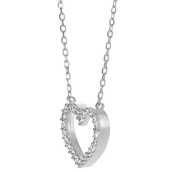 Cubic Zirconia Encrusted Figaro Chain Necklace Rhodium Plated Sterling Silver