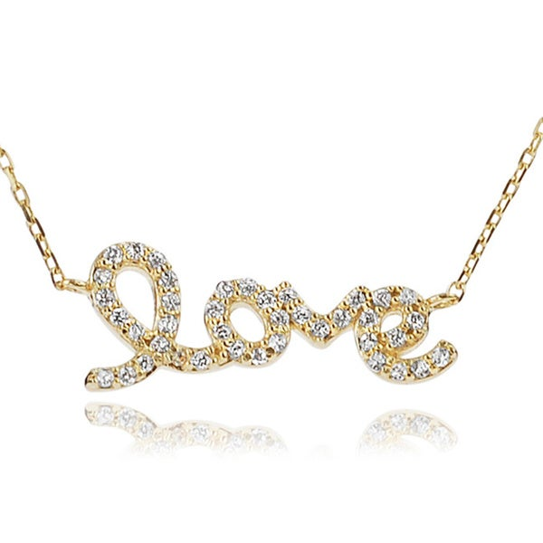 Journee Collection Sterling Silver Cubic Zirconia Love Necklace