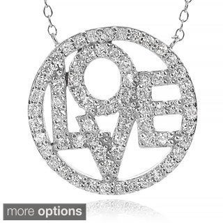 Journee Collection Sterling Silver Cubic Zirconia Circle Love Necklace