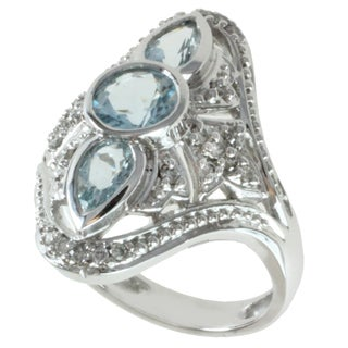 Michael Valitutti 14K White Gold Aquamarine and Diamond Women's Ring