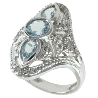 Michael Valitutti 14K White Gold Aquamarine and Diamond Women's Ring