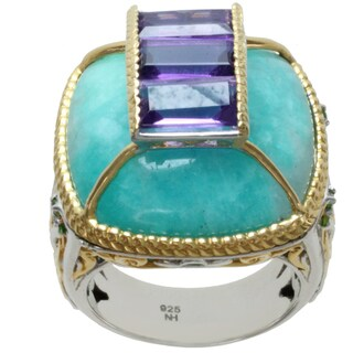 Michael Valitutti Two-tone Amazonite, Amethyst and Chrome Diopside Ring