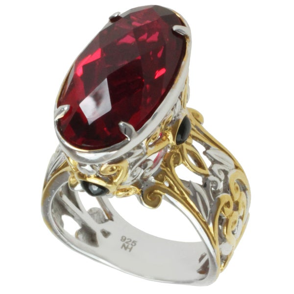 Michael Valitutti Two-tone Red Quartz and Black Spinel Ring