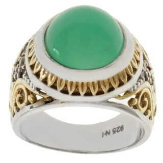 Michael Valitutti Two-tone Chrysoprase and White Sapphire Ring